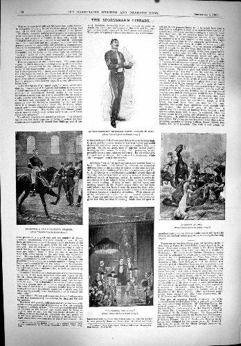 Impresión Antigua de la Fotografía del Trabajo de Leonard del Club de Golf de Herne del Subalterno de 1900 del Deporte del Ejército Caballos del Polo