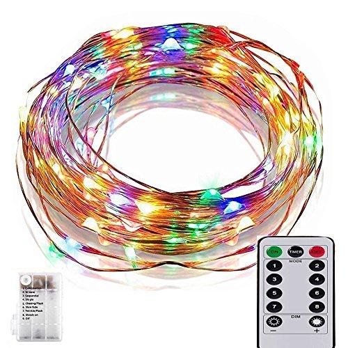 EONANT Guirlande LED Lumineuse à Piles,33ft 100 LED Chaîne de Lumières de Fil avec Télécommande Etanche Décoration intérieur et extérieur pour Noël Mariage Soirée Maison Jardin(Multicolore)