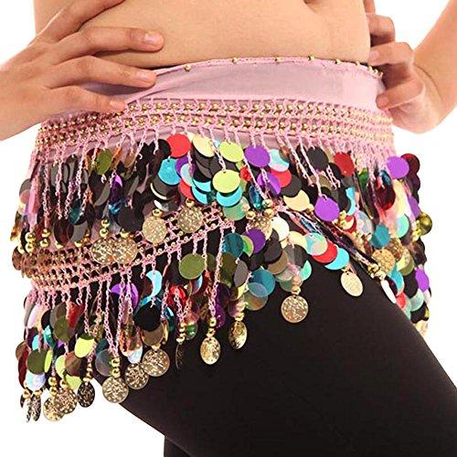 Colorful Bauchtanz Hüften Schal Chiffon Rock Wrap Gold Münze Taille Gürtel (Rock Kleidung Zigeuner)