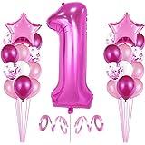 1er Cumpleaños Globos, Decoración de cumpleaños 1 en Rosas, Feliz cumpleaños Decoración Globos 1 Años, Globos Numeros para Fi