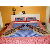 Nistaksh Jaipuri Cotton Double Bed Sheet With Pillow Cover: Red And Blue Peacock Print