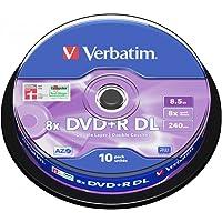 Verbatim 43666 8.5GB 8x Double Layer DVD+R Matt Silver - 10 Pack Spindle