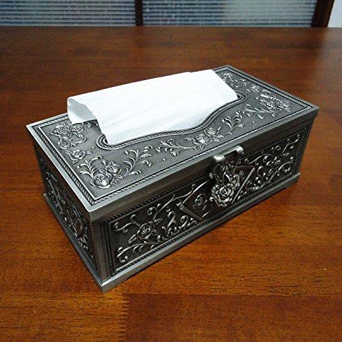COLLECTOR Tessuto decorativo casella stile tabella complessa classica intagliata tovagliolo scatola tovagliolo carta velina vassoio di metallo - Libro Blu Tovagliolo