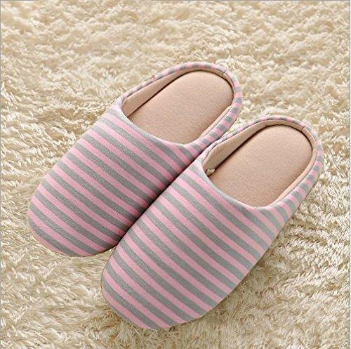 Japón y Corea del Sur en el hogar interior suave de algodón suave piso de madera zapatillas zapatillas de hombres y mujeres en verano cálido invierno zapatos de gran tamaño, con el M 35-38 apto, gris ceniza franjas horizontales