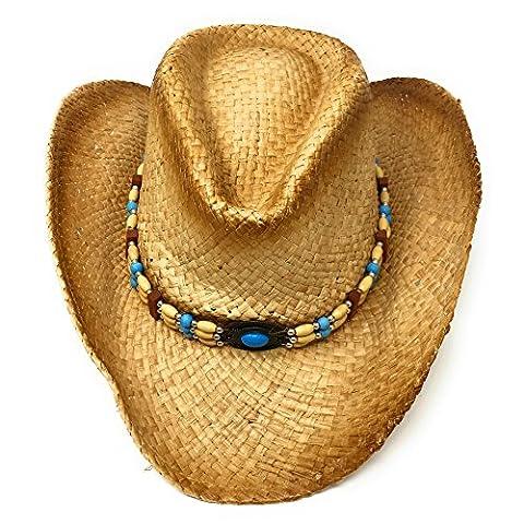 Raffia Straw Cowboy Hat. Blue Beaded Headband. Country Western Line Dancing