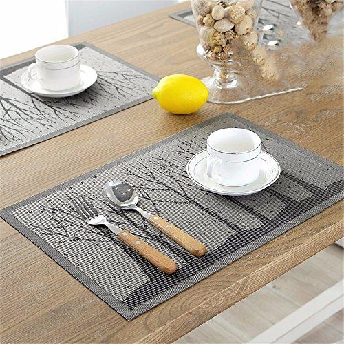 XXSZKAA Table De Cuisine Créative Mat Bois Table Mat Européen Pvc Isolé Table Tapis De Tables Table D'Accessoires Plaque Mat, Un 4 Pièces, 45 * 30Cm