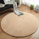 Teppich Wohnzimmer Footcloth Study Room Stuhl Bodenmatte Runde Teppiche lange Heftklammer ( Farbe : Beige , größe : 100cm )