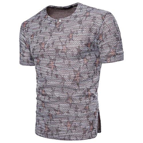 Dasongff Mode Persönlichkeit Männer Aufdruck T Shirt Casual Slim Kurzarm T-Shirt Top Vintage Sommershirt Basic Rundhals (L, Dunkelgrau)
