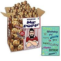 BOGATCHI Mr.POPP's Dark Chocolate Popcorn, 100% Crunchy HandCrafted Gourmet Popcorn Snacks | NO Microwave needed | Best Movie / TV Time Snack, Best Birthday Gift for girlfriend , 375g + FREE Happy Birthday Greeting Card