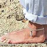 Chicer - Pulsera de tobillo vintage con accesorios de cadena de pie con plumas y piedra roja, sandalia de pie descalzado, joyería de playa ajustable para mujeres y niñas