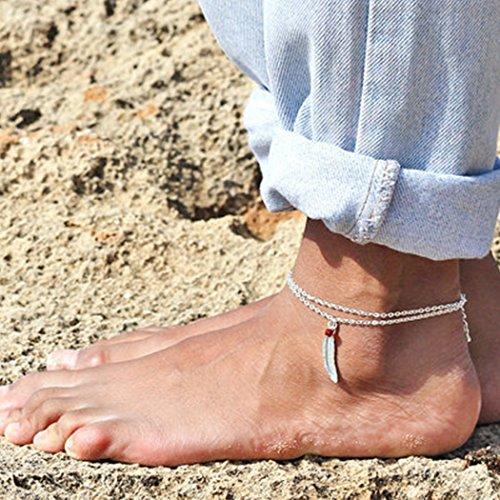 Chicer - Pulsera de tobillo vintage con accesorios de cadena de pie con plumas y piedra roja,...