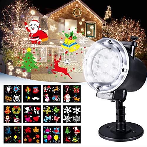 Luces de Proyector, LED Lámpara de Proyección de Navidad para Exterior e Interior Luz de Proyección con'12Motifs' y RF Remote Ideal para Navidad/Halloween / Noche/Cumpleaños / Bar/Jardín / Boda