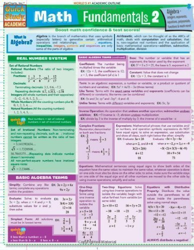 Math Fundamentals 2 (Quickstudy: Academic) Crds Edition by BarCharts, Inc. published by QuickStudy (2008)