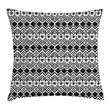 FAFANI Modern Decor Throw Pillow Cushion Cover, Geometric Design with Modern Hippie Zig Zags Triangles Squares Art Print, Decorative Square Accent Pillow Case, 18 X 18 Inches, Black and White