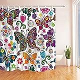 Butterfly Decor Vorhänge Dusche by kotom Kollektion von Farbe Schmetterlinge mit Blumen Hintergrund für Kids Vorhänge Decor Dusche von kotomation Bath Vorhänge, 175,3x 177,8cm