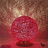 Luz de noche de proyección estrellada junto a la cama INS lámpara de mesa de bola de ratán bola de mimbre