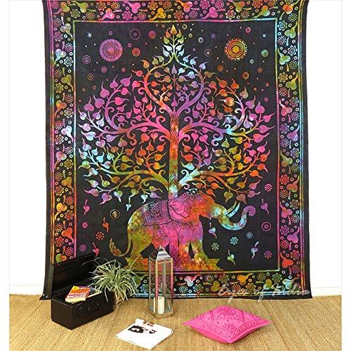 Eyes of India de Colores Hippie Elefante Tintura Lazo Árbol de la Vida Colcha Tapiz Playa Cuarto Boho Bohemio Indio - Multi, 84 X 94 in. (213 X 238 cm)