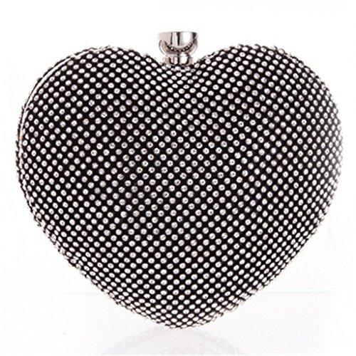 ERGEOB® weibliche Taschen Mädchen lieben Diamanten Clutchtasche Herzen Form Handtasche Schwarz