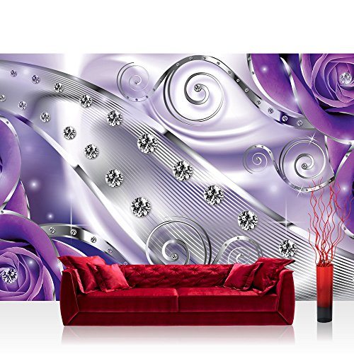 Vlies Fototapete 208x146cm PREMIUM PLUS Wand Foto Tapete Wand Bild Vliestapete - Ornamente Tapete Blume Rose Diamant Schwung Schnörkel Streifen lila - no. 1370