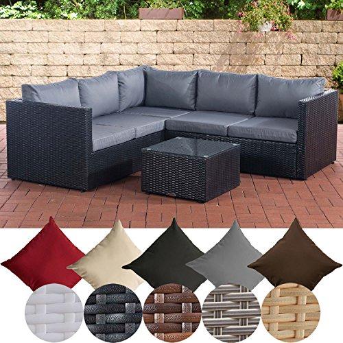 CLP Poly-Rattan Lounge-Set GENERO l Garten-Set mit 5 Sitzplätzen l Garnitur mit Aluminium-Gestell l Komplett-Set bestehend aus: 3er Sofa + 2er Sofa + Tisch eisengrau, Schwarz