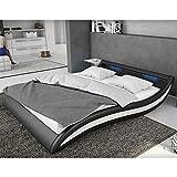Polster-Bett 180x200 cm schwarz-weiß aus Kunstleder mit blauer LED-Beleuchtung | Accentox | Das Kunst-Leder-Bett ist ein edles Designer-Bett | Doppel-Bett 180 cm x 200 cm mit Lattenrost in Leder-Optik, Made in EU