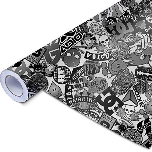 50x150cm Stickerbomb Auto Folie in schwarz / weiß Glänzend - Sticker Logo Bomb - JDM Aufkleber - Design: Skate BW (Weiß Schwarz Und Logo)