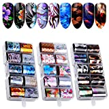 30 couleurs Autocollant d'ongle Holographique Nail Feuilles, Kalolary Ongles Feuille...