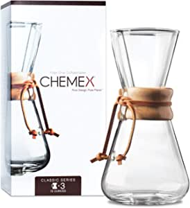 Chemex CM-1C Vaso per Caffettiera (1-3 Tazze), in Vetro con Collo in Legno