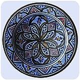 Simandra Orientalischer Keramik Teller Handbemalt marokkanische Keramikschüssel Wandteller klein Color Blau