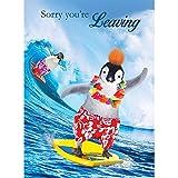 Tracks Publishing Riesen Grußkarte Abschied Kollegen Karte Glitzer Druck Surfer Pinguin A4
