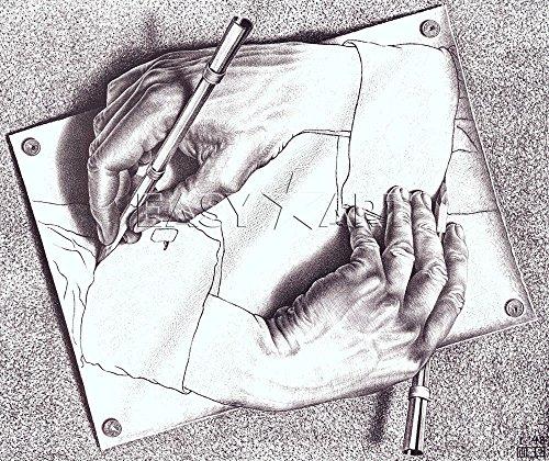 M.C. Escher Kunstdruck, Zeichnungen Hände, 55 x 65 cm, Kunstdruck, Poster) (Escher-zeichnung)