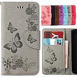 Yiizy Samsung Galaxy S5 Mini G800F Hülle, Schmetterling Blume Entwurf PU Ledertasche Beutel Tasche Leder Haut Schale Skin Schutzhülle Cover Stehen Kartenhalter Stil Schutz (Grau)