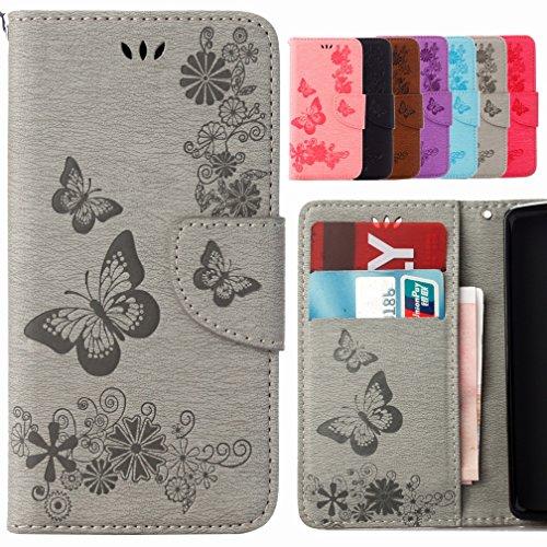 Yiizy Samsung I9190 Galaxy S4 Mini / I9190 Coque Etui, Papillon Fleur Design Flip PU Cuir Cover Couverture Coquille Portefeuille Housse Média Fente pour Carte Protecteur Skin Poche (Gris)
