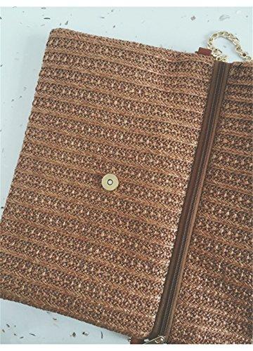 Lawevan® Frauen L31cm * W21cm Gewebte Stroh Hobos Schultertaschen Braun