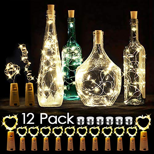 WEARXI 12 Pack LED Flaschenlicht Deko - 2M 20 LED Lichterkette Batterie, Led Korken mit LED Lichterkette für Flasche, Tischdeko Geburtstag, Weihnachten, Hochzeit, Valentinstag, Dekoration Wohnung