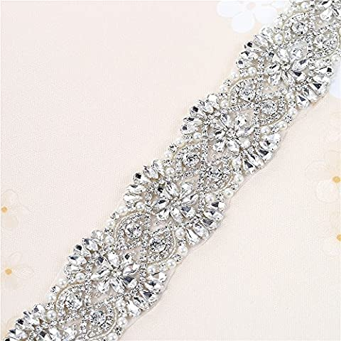 1 Yard Wedding Crystal Applique Trim for Bridal Rhinestone Dress Sash Belt Evening Gown Party Prom Clothes Accessories Pearl Beaded Sparkle Elegant by Sewn or Hot Fix -