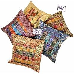 Rastogi artesanías indio bordado a mano brocado Trabajo Seda Cojín de 5piezas cover set-multicolor