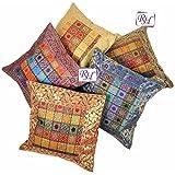 Rastogi artesanías indio bordado a mano brocado Trabajo Seda Cojín de 5piezas cover set–multicolor