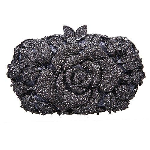 Bonjanvye Shining Studded Rhinestone Rose Flower Clutch Purses and Handbags for Ladies Red Gray