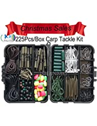 jshanmei® 225pcs Kit/Set pour pêche à la carpe avec crochets pivotant à//manches/perles clips en caoutchouc tubes/plomb//Bas/cheveux
