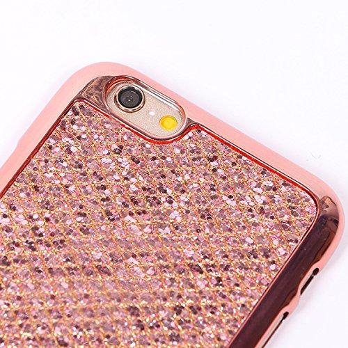iPhone 8 Hülle,iPhone 7 Hülle,Handyhülle iPhone 8 / iPhone 7 Schutzhülle,ikasus® Glänzend Glitzer Schutzhülle Bling Diamant Muster Hülle Case Weicher TPU Bumper Cover Schutzhülle Kratzfeste Plating TP Rose Gold