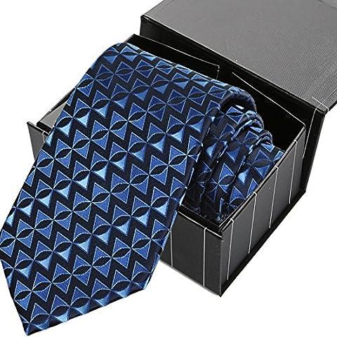 KissTies Navy Blue Tie Arrow Triangle Geometric Patterned Necktie + Magnetic Box