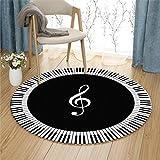 JH Teppich Computer Stuhl Kissen Korb Pad schwarz und weiß Klavier Noten Muster Runde (Color : Black, Size : 120cm)