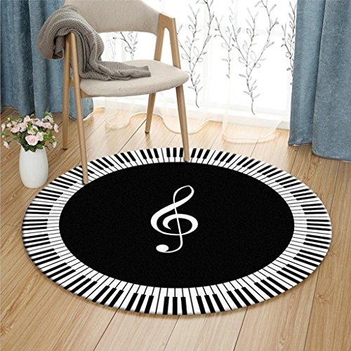 Brilliant firm Teppiche & Matten Teppiche Teppich Computer Stuhl Kissen Korb Pad schwarz und weiß Klavier Noten Muster Runde (Color : Black, Size : 120cm)