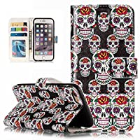 Beddouuk iPhone 6/6S Case,PU Leather Wallet Case Stand Flip Cover Bookstyle Case with Card Holders,Retro Cartoon Pattern Design Full Body Protection TPU Case for iPhone 6/6S,Skull Head