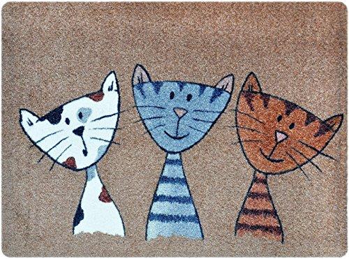 deco-mat Fußmatte Katze - Fussmatte Innen, Rutschfest, waschbar - Schmutzfangmatte - Fussabtreter - Fussabstreifer 50x70 cm