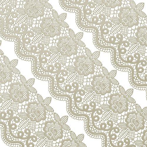 Musykrafties Groß Vorgefertigt Gebrauchsfertig Essbarer Kuchen Blumenspitze Medaillon Muschel 14-inch 20-Piece Set - elfenbein weiss
