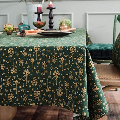 ZYT Waschbar, schmutzabweisend, pflegeleicht, hochwertig,Weihnachten Bronzing Tischdecke Campanula gedruckt Baumwolle und Leinen Urlaub Geschenk Tischdecke rechteckig grün ohne Spitze 140 * 180cm