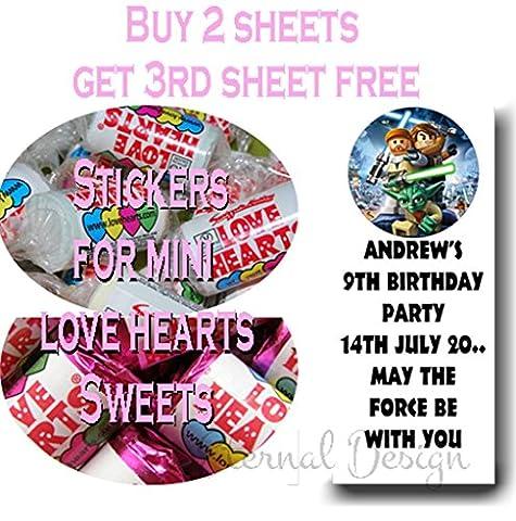 Eternal Design brillant Stickers d'anniversaire pour Mini bonbons Love Heart kblvhs 170 27 per pack