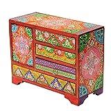 Indien-ethnique-style-mini-commode-9-tiroirs-en-cramique--Rangement-pour-bijoux-bleu-orange-jaune-20-x-20-x-22-cm-Bois-dense-Blue-Orange-Yellow-20x22cm